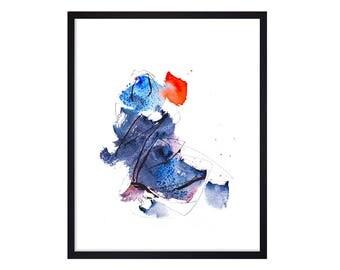 Blue Art Print - Abstract Painting - Watercolor Dancer Painting - Watercolor Abstract Paintings -  Map Art Print - Original Art