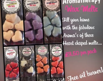 Handmade heart shaped Aromatherapy Wax Melts with Essential oils. Highly Scented. Pack of 5