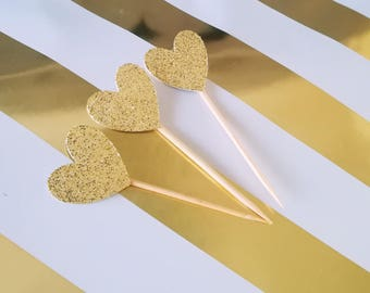 Gold or silver glitter heart Cupcake toppers x 10