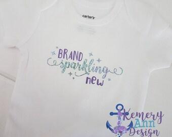 Brand Sparkling New Bodysuit, Newborn Baby, Brand New Baby Shirt, Sparking New Baby Bodysuit, Girls Baby Shower Gift, New Baby Girl Shirt