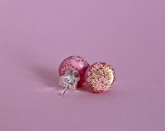 Pastel pink stud earrings with copper glitter, glitter earrings, handmade earrings, polymer clay earrings, stud earrings, the zadie store