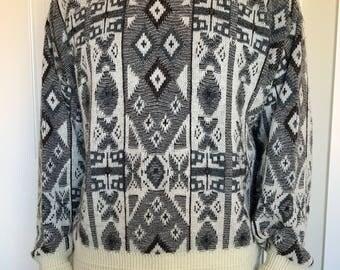 Vintage Men's Jantzen Crewneck Sweater Geometric Wool Blend Sized XL