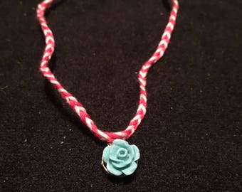Braided bracelet or anklet with flower charm