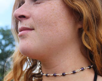 Dark Purple and Sterling Silver Chain Necklace