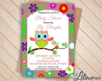 Owl Baby Shower Invitation, Printable Baby Shower, Owl Baby Shower invite, Owl invitation, Digital file(36)