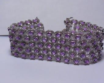 Sterling Silver 925-Sterling-Silver-Ladies-25-00ct-Amethyst-Bracelet-Brand New NEVER-WORN