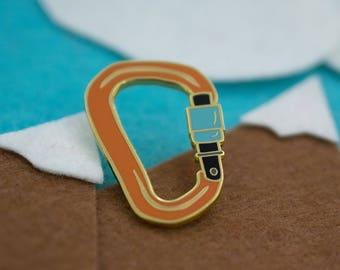 Carabiner Hard Enamel Lapel Pin in Orange