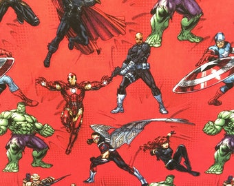 Marvel Fabric, Avengers Action, Fabric by the Yard, Cotton, BTY, Hulk, Captain America, Iron Man, TheFabricEdge