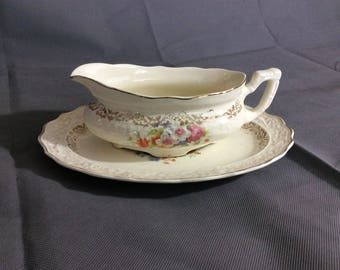 Vintage Stetson Warranted 22 kt Gold Trimmed Gravy Boat Multicolored Floral China 636R Made in USA