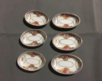 Vintage Set of 6 Noritake Pink Floral Hand Painted Miniature Salt & Spice Dip Bowls / Plates
