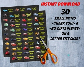 Cars 3 Thank You Tags, Disney Cars 3 Birthday Party, Cars Party, Cars 3 Small Notes Favor Tags, INSTANT DOWNLOAD - DIY Printable