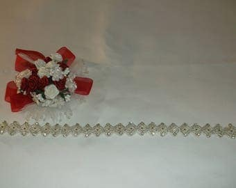 Silver/Rhinestone Square Beaded Trim