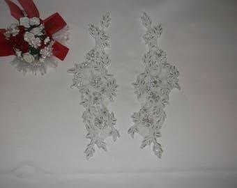 White Silver/Rhinestone Beaded Alencon Applique
