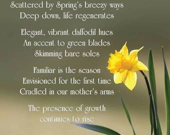 "Inspirational Poetry Greeting Card — ""Daffodil"" — FREE SHIPPING"