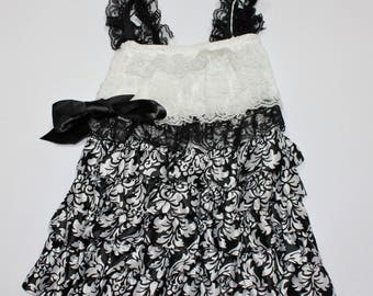 Black and White Damask Dress Girls