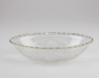 Anchor Hocking Clear Sandwich Glass Oval Serving Bowl with Gold Trim