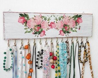 Flowers - Jewelry holder wall, jewelry organizer wall, jewelry hanger, necklace organizer wall