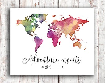 Adventure awaits art print, map print, gift for traveler, travel quote, map quote, calligraphy art, hand lettering,large world map, nursery