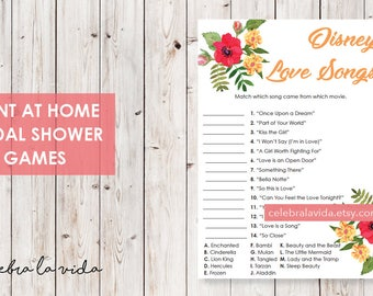 Disney Love Songs Bridal Shower Game. Instant Download. Printable Bridal Shower Game. Yellow Flowers. Red and Orange - 02