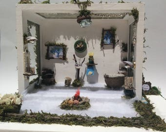 Miniature fairy bathroom in a box, fairy house scene, miniature bathroom diorama, Handmade miniatures