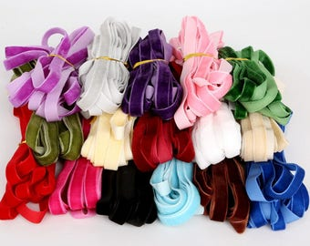 """New 5yard/lot 3/8"""" 10mm width multi colors options velvet ribbon velour webbing headband Hair band accessories white lace fabric"""