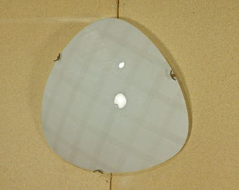 Flushmount ceiling light from the 50s with brass and glass in the style of a napako lamp