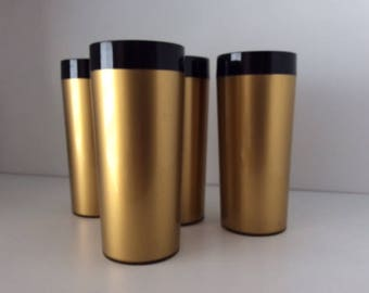 Gold Thermo-Serv Plastic Tumblers | West Bend | USA | Vintage