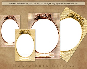 Printable Oval Frames Vintage Images Crafters Mirror Scrapbooking Junk Journals Print Cards Photo Blank Nameplates Download Print Cut & Use!