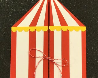 CUSTOM Handmade Circus Themed Invitation