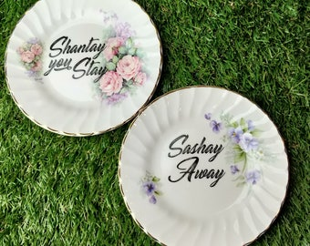 Sashay Away & Shantay You Stay mismatched floral pair of plates - RuPaul dragrace drag race twee kitsch quote decor upcycled queen