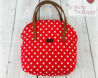 Cosmetic bag - DOTTI - cotton polka dots - red/white