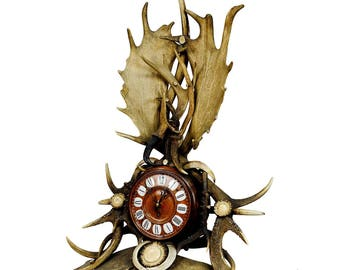 austrian lodge style antler mantel clock 1900