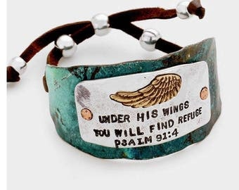 metal, religious, psalm 91:4 angel wing bracelet
