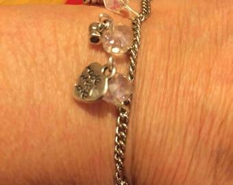 Charm and glass beads bracelet