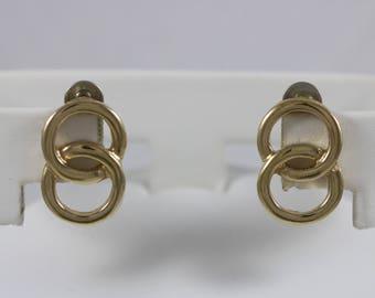 ARTISTRY Signed Vintage Gold Tone Interlocking Rings Drop Post Earrings