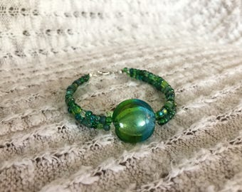 Blue and green glass nugget and bead double-strand bracelet