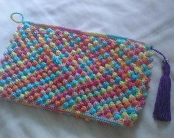 Colorful Popcorn Crochet Pouch Purple Tassel