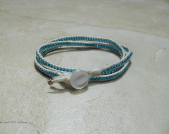 Triple Wrap Bracelet with Blue Glass Seed Beads and Pearl-colored Button