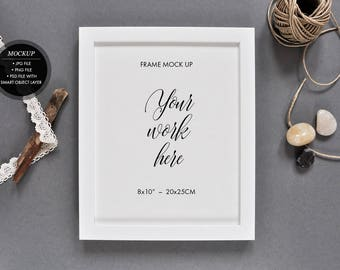 """Frame mockup - stock photography, 8x10"""" 20x25 cm, frame mock up for sign or poster, high res jpg, png, psd with smart object"""