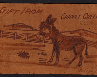 Old Leather Post Card American Stamp 1906