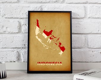 Indonesia poster Indonesia art Indonesia Map poster Indonesia print wall art Indonesia wall decor Gift poster