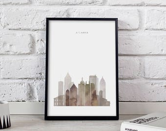 Atlanta poster Atlanta print Atlanta art Atlanta City poster Atlanta Skyline Georgia wall art Atlanta wall decor Gift print