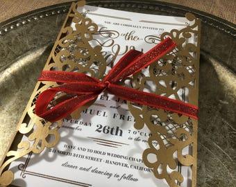 Laser Cut Wedding Invitation, Gold wedding invitations laser cut, Laser Cut Wedding Card
