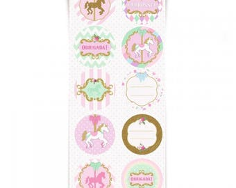 CAROUSEL PARTY CARROSSEL Round Stickers - 60 units