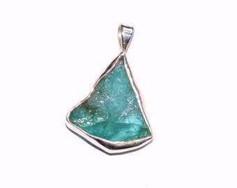Natural Raw Emerald Pendant - Rough Emerald Necklace