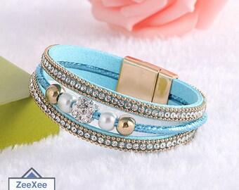 Multilayer Magnetic Clasp Leather Bracelets