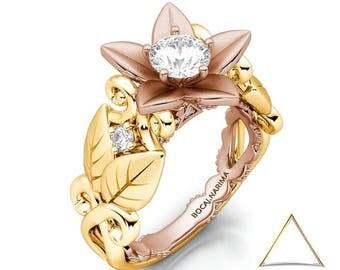 Two Tone Flower Leaf Forever Moissanite, 14K Gold Ring, Leaf Gold Ring, Floral Ring, Engagement Ring, Botanical Ring, Petals Leaf Ring