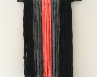 Boho wall hanging - grey, black and coral