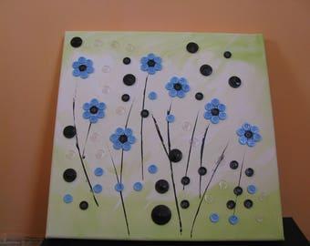 Button Art Canvas - Blue Flowers