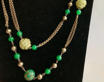 Unique Green and Gold Glass Necklace